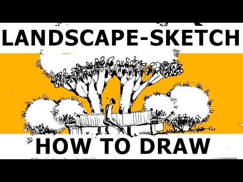 How to draw a simple sketch for landscape design. Eduard Kichigin