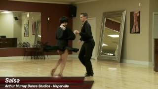 Salsa - James Dutton & Kelly Lakomy dance salsa at Arthur Murray Naperville Dance Studio