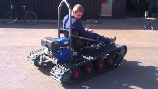 Home made tracked vehicle, First test Drive