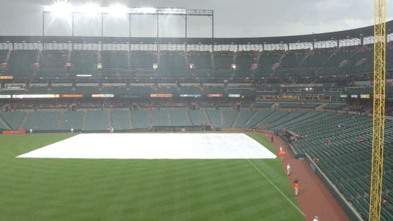 CLE@BAL: Indians, Orioles delayed by rain