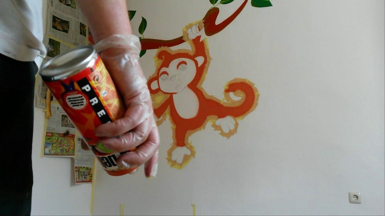 graffiti character monkey graffiti im kinderzimmer youtube. Black Bedroom Furniture Sets. Home Design Ideas