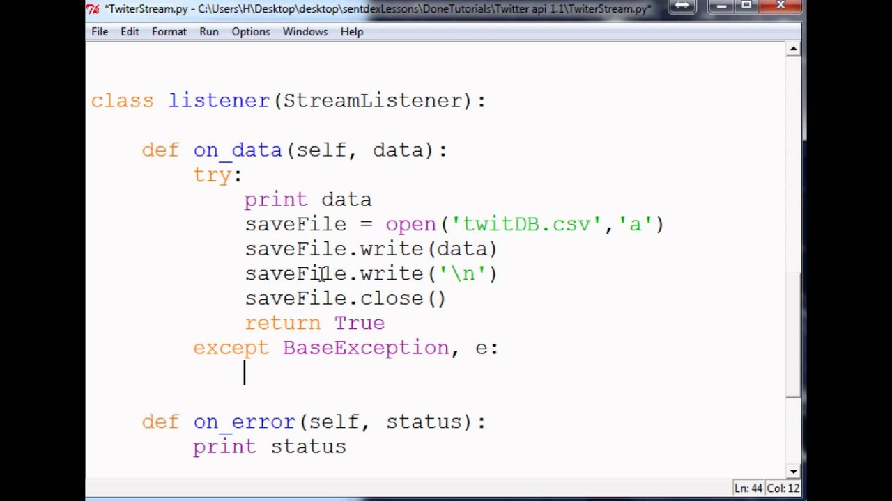 Saving Tweets: How to use the Twitter API v1 1 with Python to stream tweets  - YouTube