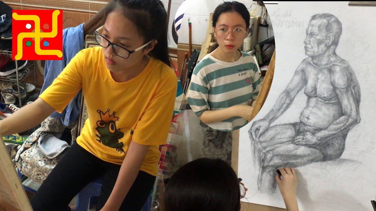 Hướng dẫn vẽ người mẫu thật thi Đại học Kiến trúc Hà Nội