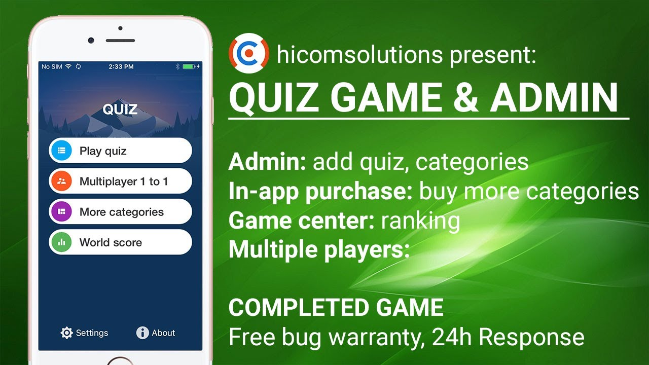 Completed game template for Quiz  Custom reskin available