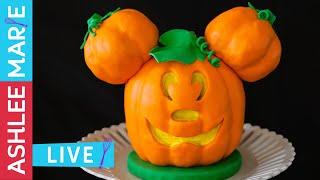 Disney&#39s Mickey Mouse Jack O Lantern Cake Tutorial - LIVE cake decorating