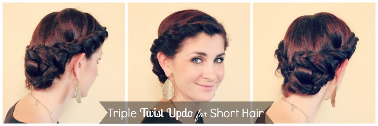 Triple Twist Updo For Short Hair Youtube