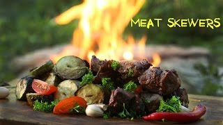 BEST MEAT SKEWERS EVER! - Primitive Cooking