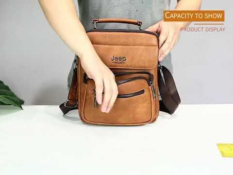JEEP BULUO Big Size men's handbags famous brand man messenger bag leather shoulder crossbody bag for