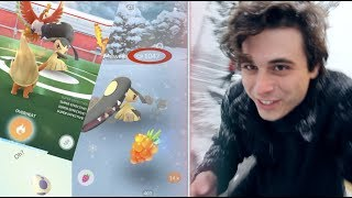 Battling Mawile in a Blizzard!! Pokemon Go
