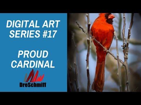 Art Project Series#17: Proud Cardinal – Digital Speed Painting