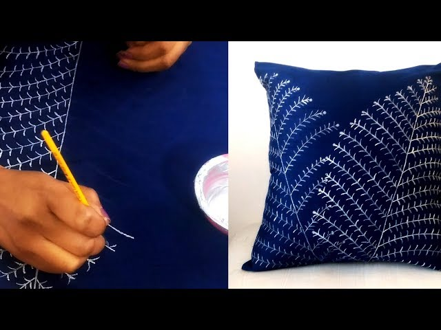 Silver Printed Leaves Design Cushion Cover | Leaves painting on fabric | FABRIC PAINTING