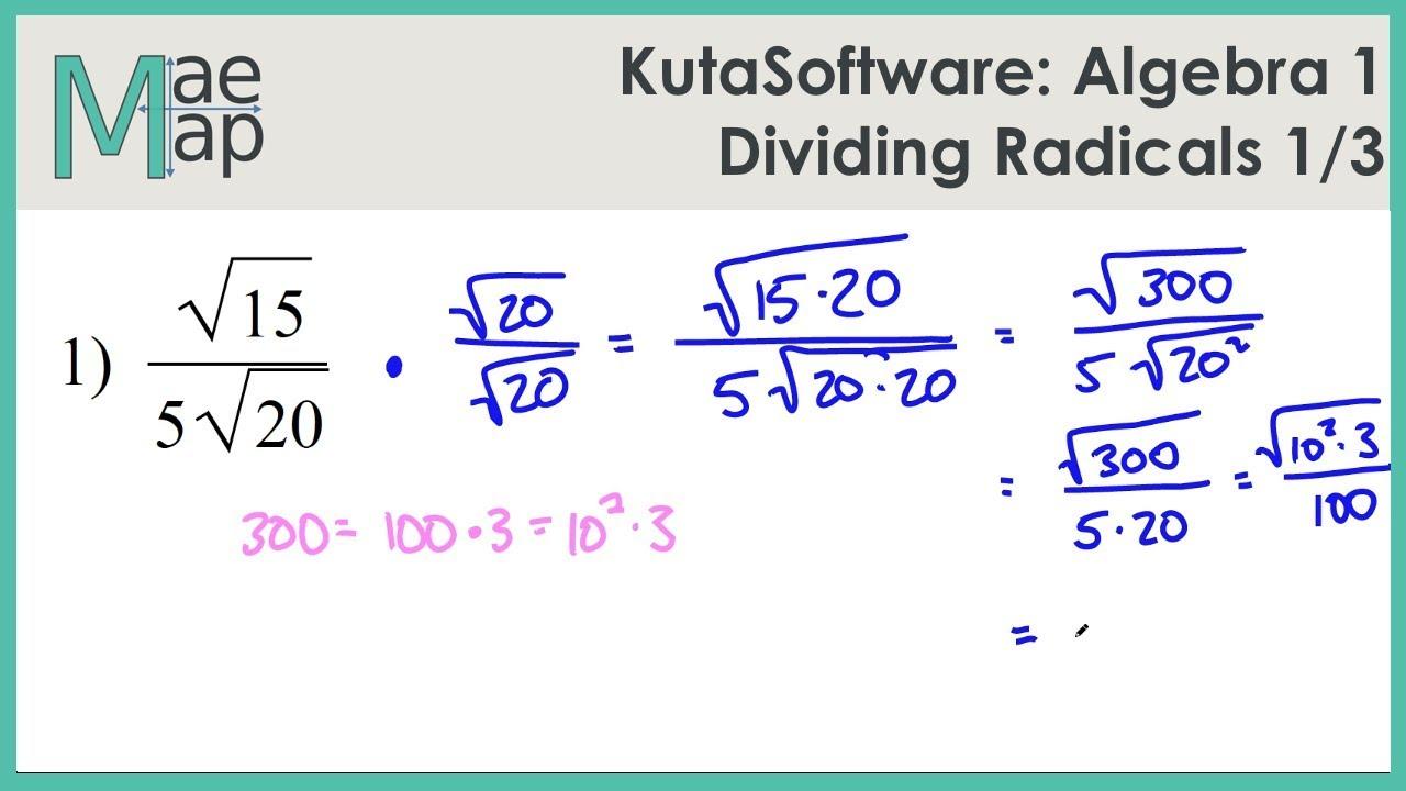 KutaSoftware: Algebra 1- Dividing Radicals Part 1 - YouTube