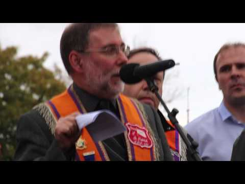 Nelson McCausland MLA speaking at Woodvale Road, 19 Oct 2013, in support of Ligoniel lodges.