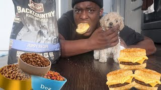 BREAKFAST MUKBANG W/ A PUPPY 😊* his is only 2 months old *