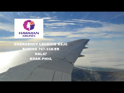 "(HD) Hawaiian Airlines 767-300ER ""Emergency"" Landing in San Jose"