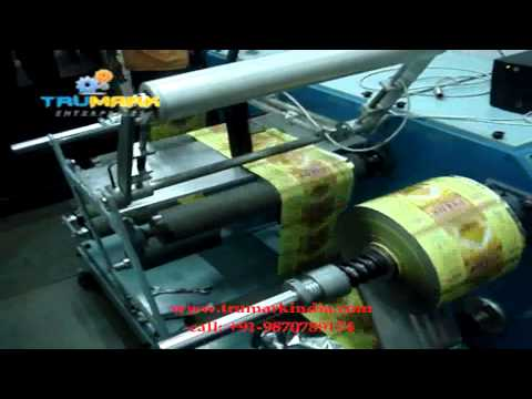 online inkjet printing on sticker label pouch rolls,  mrp date coding on winding doctoring machine