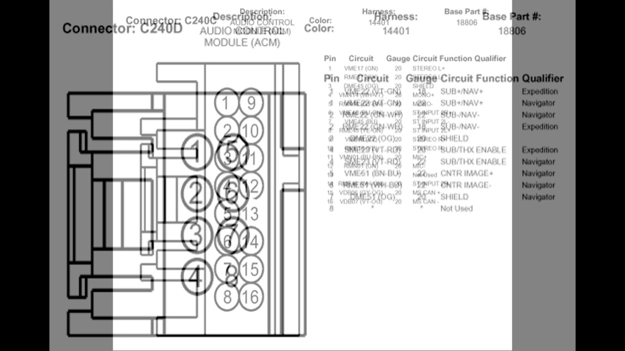 2009 Lincoln Navigator Stereo Wire Diagrams  YouTube