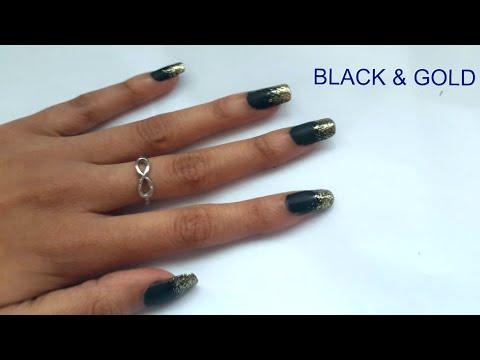 Easy Nail Art Tutorial Matte Black Gold Glitter Nails