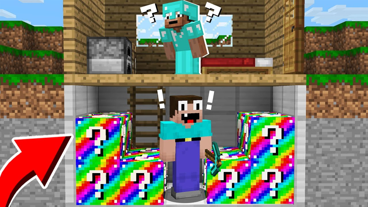 NOOB FOUND RAINBOW LUCKY BLOCK IN PRO BASEMENT! in Minecraft Noob vs Pro