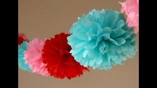 Супер-Просто Пом Пон из бумаги своими руками.Как сделать бумажный помпон? Весенний декор Подарок.