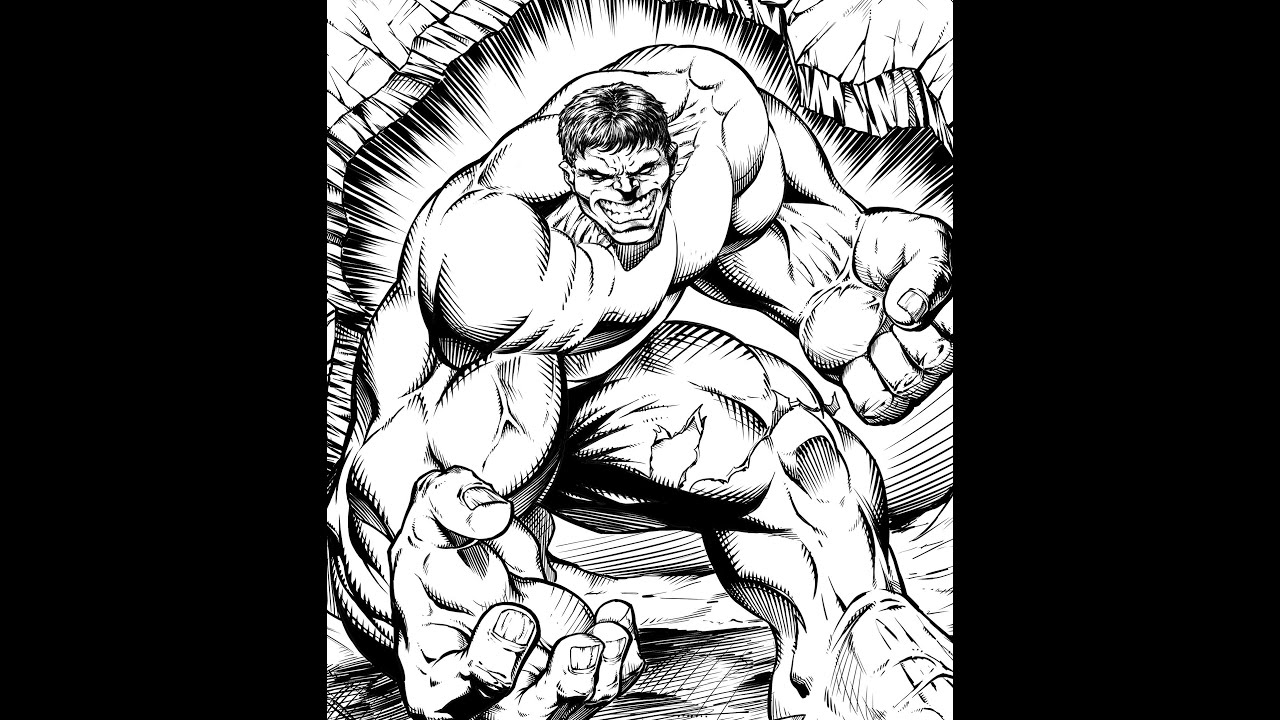 Hulk Speed Drawing Digital Pencils And Inks Manga Studio by RAM