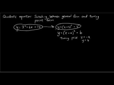 Quadratic equation - complete the square - changing from general form to turning point form