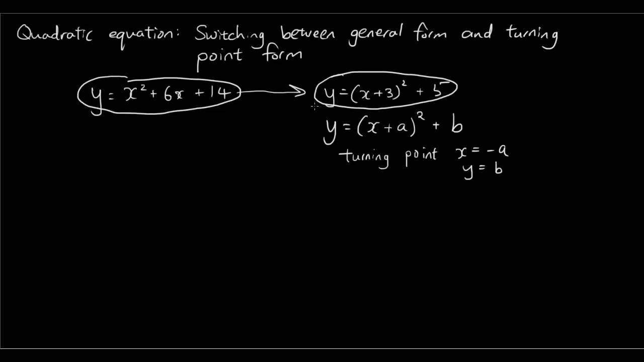 Quadratic equation complete the square changing from general quadratic equation complete the square changing from general form to turning point form youtube falaconquin