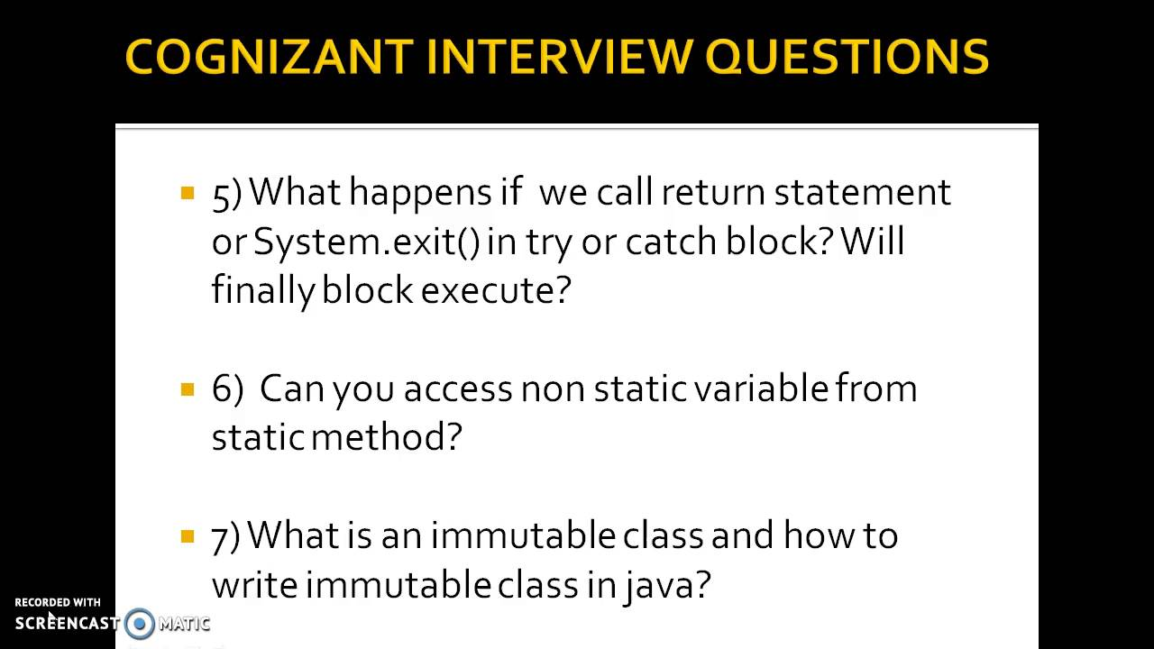 Cognizant java interview questions for freshers and experienced latest
