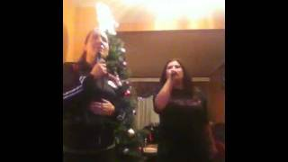 Lily and Melissa Singing Rain By Bruno Mars Karaoke style December 2011
