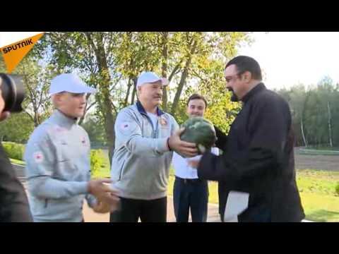 Actor Steven Seagal Gets a Taste of President Lukashenko's Carrots