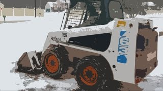 BOBCAT LOADER PLOWING SNOW