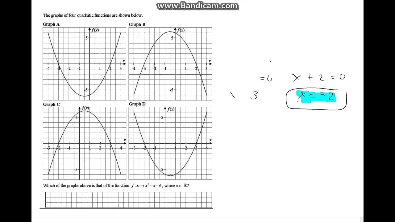 Functions: Matching equations with graphs & working