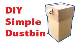 How to Make Simple Dustbin With Cardboard at Home DIY [tutorial]