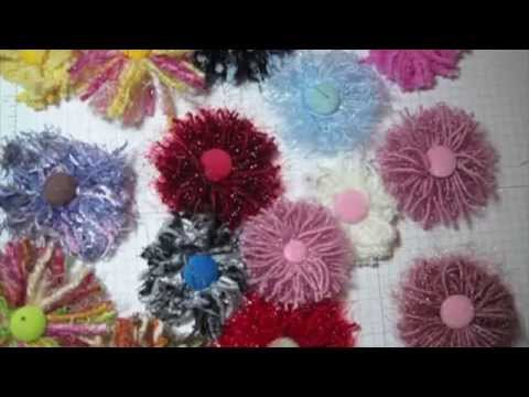 DIY:Easy to make Fiber ribbon flower:Handmade flowers: Tutorial by SaCrafters
