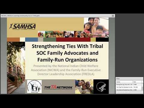 Strengthening Ties with Tribal System of Care Family Advocates and Family-Run Organizations