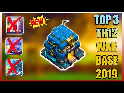TOP 3 TH12 WAR BASE 2019 Anti 2 Star With +9 Replays Anti Bowler Miner,E-Dragon,Anti Queen Walk |Coc