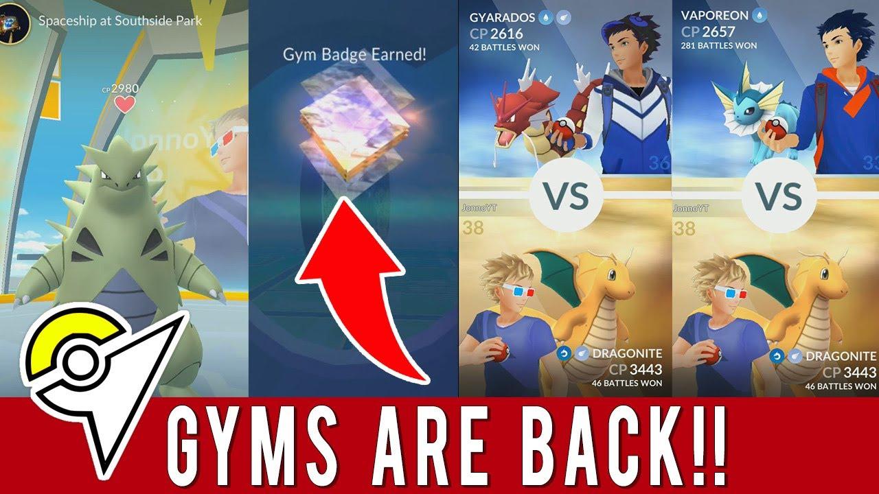 Pokemon go gyms are back pokemon go gyms update today for Gimnasio 8 pokemon reloaded