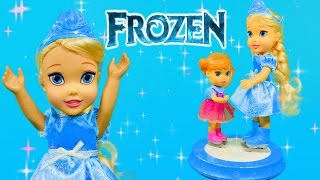 frozen young elsa anna with ice skating rink disney princess doll toys review by dctc