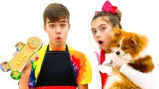Настя и Артем готовят сладости для щенка Марти