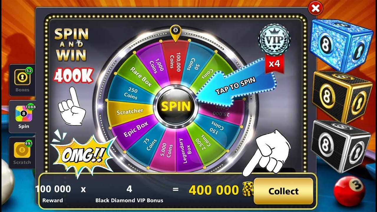 Spin Rewards 👉 400K Coins  Legendary Rare Epic Boxes And More 8 ball pool