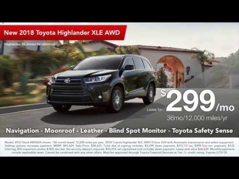 Toyota Highlander Lease >> 2018 Toyota Highlander Xle Lease Toyota Washington S Birthday Sales Event Cape Cod