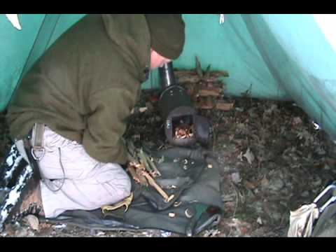 Winter Tent and Homemade Stove & Winter Tent and Homemade Stove - YouTube