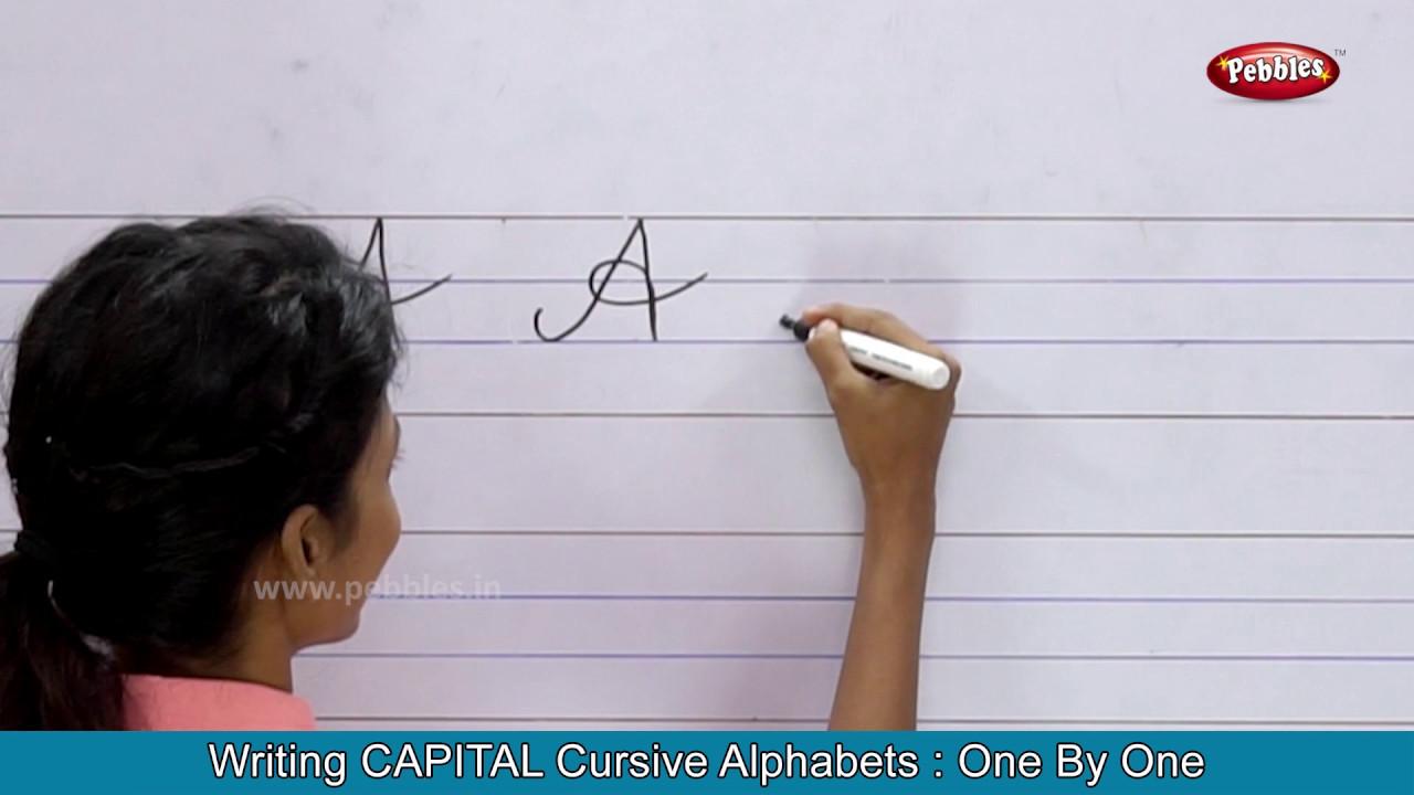 Cursive Writing For Beginners Writing Cursive Alphabets : Capital Cursive  Handwriting Practice - YouTube