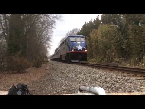 Amtrak whizzes by (Durham, North Carolina)