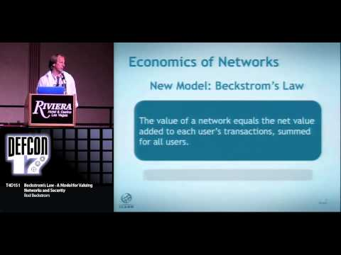 DEF CON 17 - Rod Beckstrom - Beckstroms Law A Model For Valuing Networks And Security