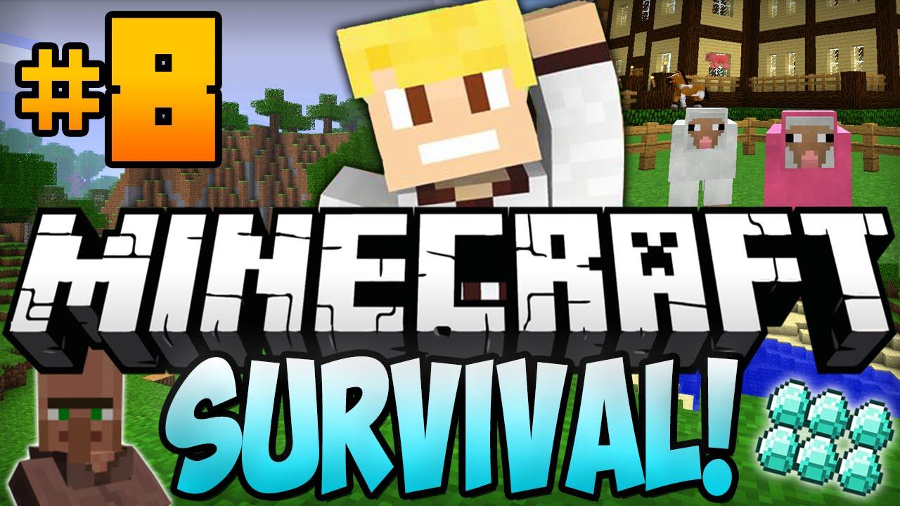 Minecraft Survival Let S Play Ep 8 Animal Farm Npc Village