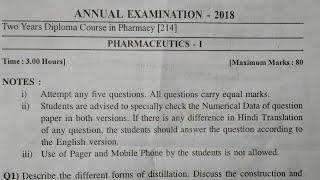 pharmacy pharmacutics questions paper 2018/1st yer pharmaceutics paper