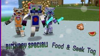 Mcpe Food & Seek Tag & Celebration For Funtime Freddy 60's Birthday W/Funtime Crew