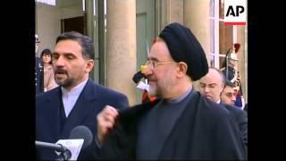 Iranian president meets Chirac, says nuclear talks progressing