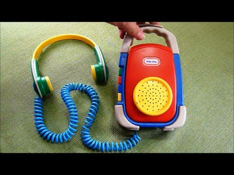 1996 Little Tikes Cassette Player Walkman Toy with Headphones and Speaker